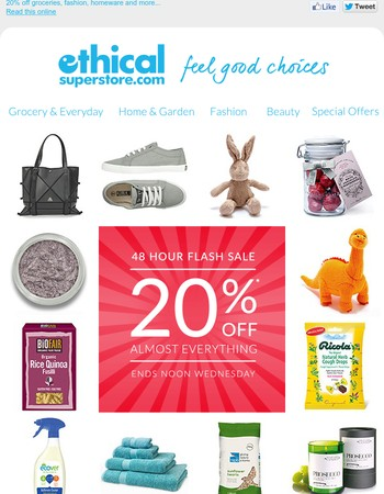 48 Hour Flash Sale – 20% Off Your Ethical Favourites!