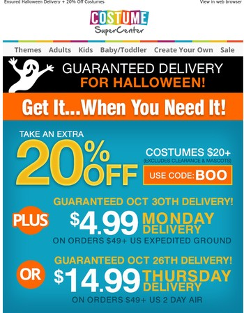 Ensured Halloween Delivery + 20% Off Costumes