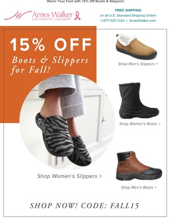 Get COZY with 15% off Boots and Slippers!