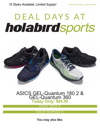 Today's Deal, ASICS GEL-Quantum 180 2 & 360: ONLY $84.95