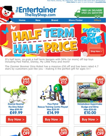 Half term treat: 50% off top toys!