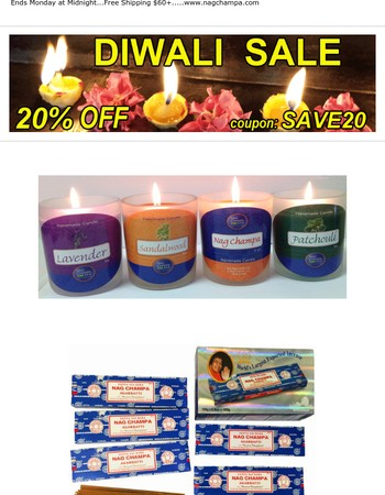 Extra 20% OFF - Last Day to Save on all your Nag Champa Faves!