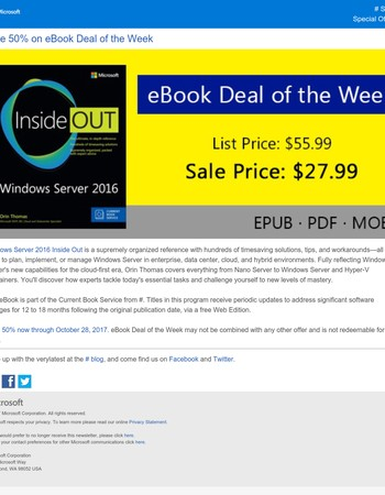 eBook Deal: Save 50% on Windows Server 2016 Inside Out (includes Current Book Service)