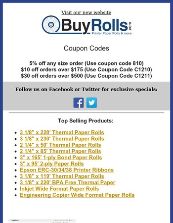 trueofilfis.gq trueofilfis.gq sells point-of-sale receipt paper rolls, ATM paper, kiosk paper, and other consumable supplies to the restaurant, retail, and banking industries.