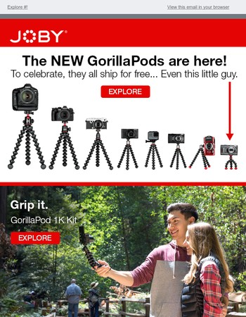 Free Shipping on NEW GorillaPods!