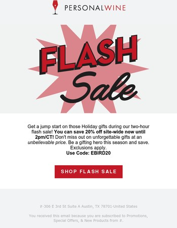 2 Hour Flash Sale Going On Now!