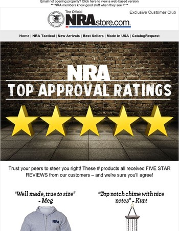 NRA Top Approval Ratings