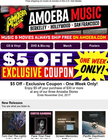 Exclusive Store Coupon, Dhani Harrison Guitar Contest, New Releases From Weezer, Julien Baker & More