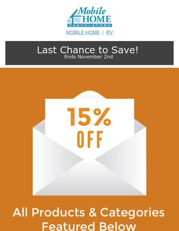 15% OFF Bathtubs & Shower Doors, Water Heater Repair Parts, & More! – Last Chance!