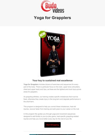 Yoga for Grapplers with Nic Gregoriades plus new DVDs from Chris Hauter, Jay Wadsworth and Joel Bouhey