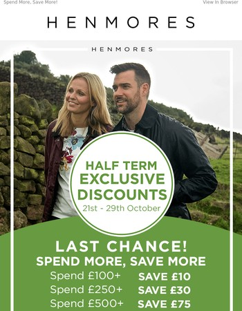 LAST CHANCE | Exclusive Half Term Discounts
