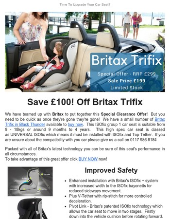 Time to Upgrade Your Car Seat?  Save £100 Off Britax Trifix