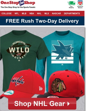 NHL Apparel and Headwear Ships FREE via Rush Two-Day Delivery