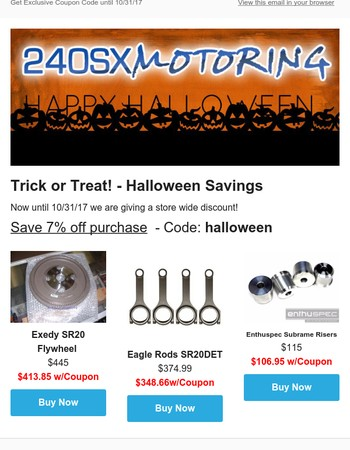 Halloween Weekend Sale - Discount Codes Available - 240sxMotoring