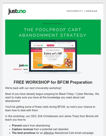 NO ONE LEAVES: a Black Friday cart abandonment workshop