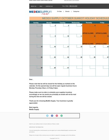 Note: MedEx Supply October Sukkot Holiday Schedule