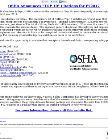 OSHA Announces It's Top 10 Violations