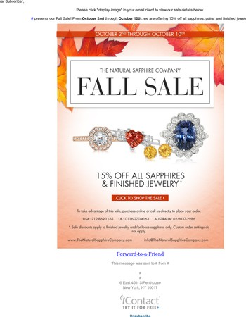 Fall Sale - 15% Off!