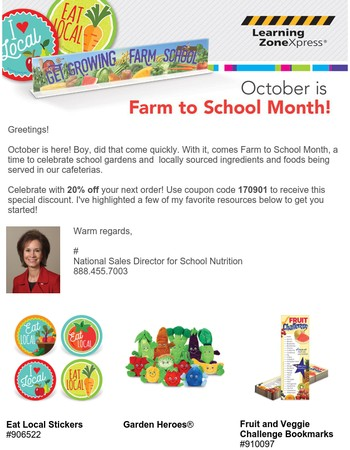 Celebrate Farm to School Month with 20% Off!