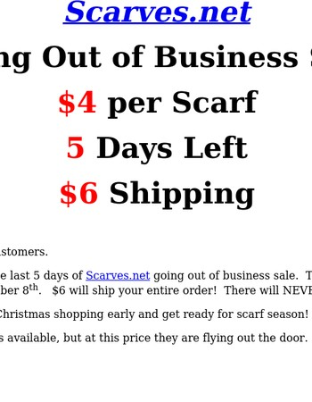 Last days of Scarves.net our of business sale