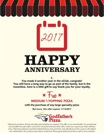 Mary, Happy Anniversary! Celebrate with FREE pizza!