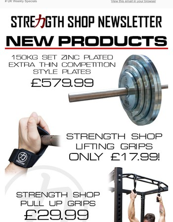 New Products @ Strength Shop - Zinc Plates, Lifting Grips & More!