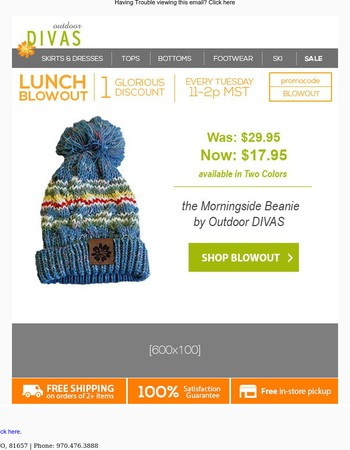 Lunch Blowout | Spooky Savings | 40% off the Morningside Beanie