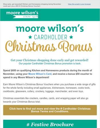 Moore Wilson's Cardholder Christmas Bonus