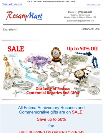 50% Off Fatima 100th Anniversary Rosaries