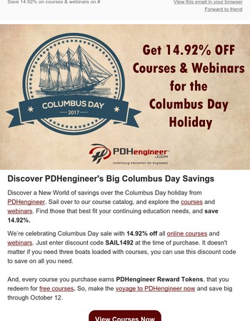 Columbus Day Sale! Save 14.92% on PDHengineer!