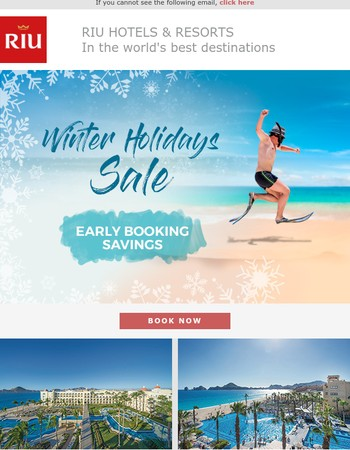 Winter holiday on the beach! Early booking savings for Mexico, Costa Rica, Jamaica...