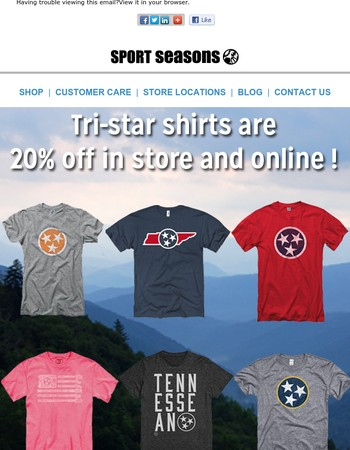 20% Off Your Favorite Tri-star Tees