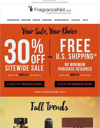 This JUST in! 30% off + Free Shipping - Your sale, your choice
