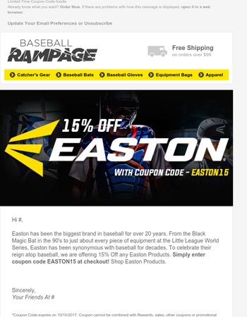 Easton Coupon: 15% Off the Game's Biggest Brand!