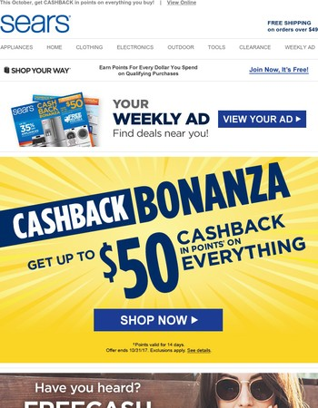 Your month to EARN MORE: Up to $50 CASHBACK in points on EVERYTHING