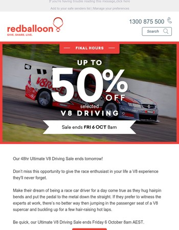 LAST CHANCE Up to 50% off selected V8 driving ends soon