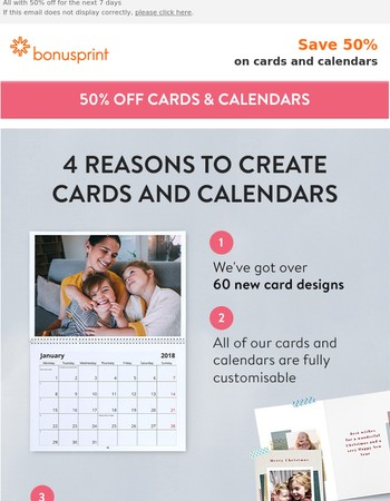 Create beautiful cards and calendars NOW