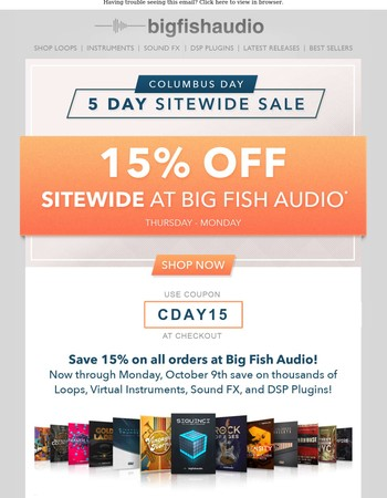 Save 15% Sitewide! Columbus Day Sale!