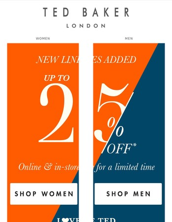 25% off Love Ted