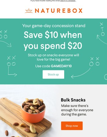 50% OFF snacks for gameday