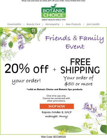 Friends & Family Exclusive - Extra 20% off!