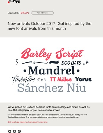 New font arrivals in October 2017