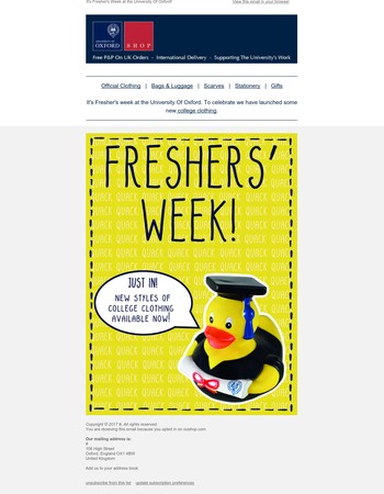 Fresher's Week - New College Clothing Now Available!