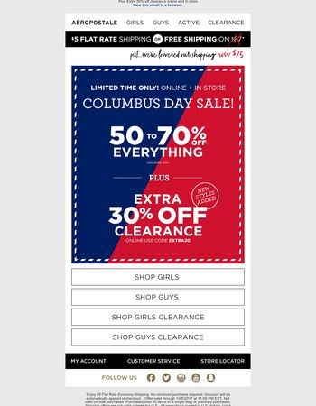 The Best Columbus Day Sale Starts Now! 50-70% Off Everything