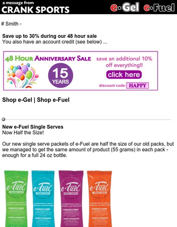 e-Gel and e-Fuel Sale - 48 Hours ... save up to 30% ... load up for your fall training!