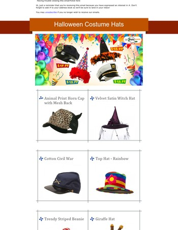 Halloween Costume Hats and Accessories