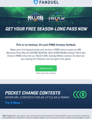 Deposit Now & Play Fantasy For FREE All Season Long
