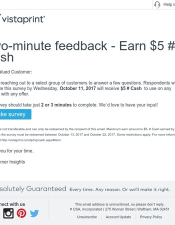 Two-minute Feedback – Earn $5 Vistaprint Cash