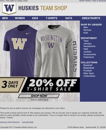 STARTS NOW: 20% Off Huskies T-Shirts!