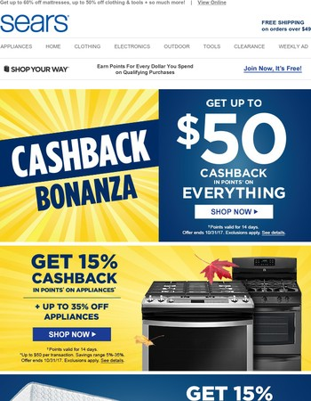 NOT A JOKE: You've secured up to $50 CASHBACK in points on everything!